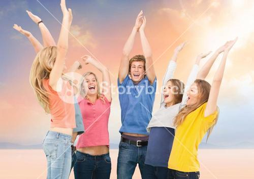 Young People group Happy Fun Bright background