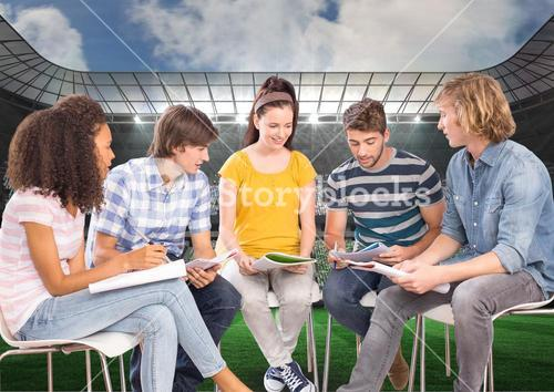 Students Studying against a Sport Stadium background