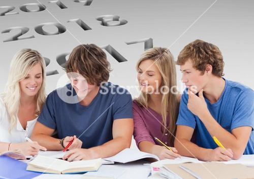 Students planing their year in group against a neutral background