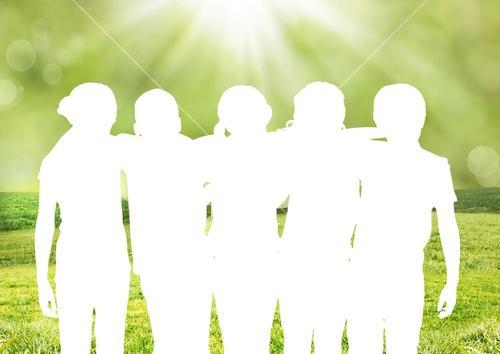 Composite of silhouette of a group of friends against green background