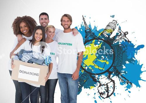 Group of Volunteers for Donation against painting world map against white background