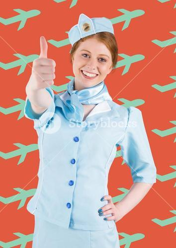 Travel agent against a red background with blue plans