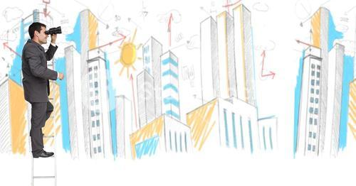 Businessman on a Ladder using at future with binoculars against city drawing against a white backgro
