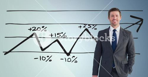 Businessman Standing behind Graph against a blue background