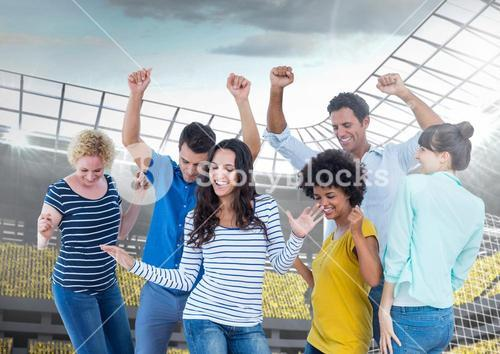 Happy and Cheerful Friends at Stadium Dancing and Celebratin against a Bright background