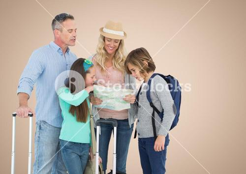 Happy Family Travelling against a nude background