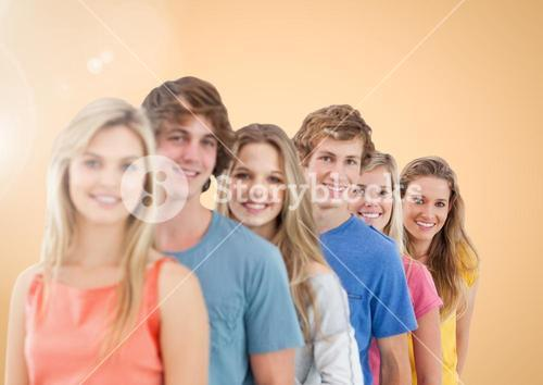 Teenager group smiling and Happy against a nude Bright background