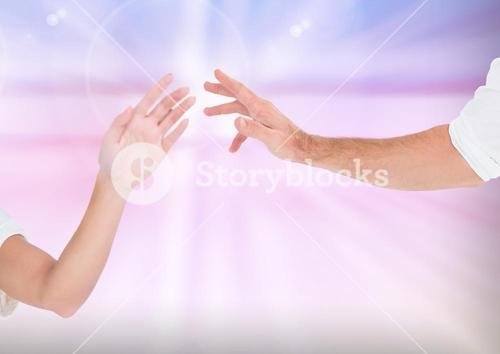 Composite Image of two Hands holding with Kindness against a light background