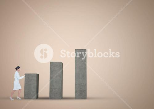 Businesswoman pushing graph against a nude background