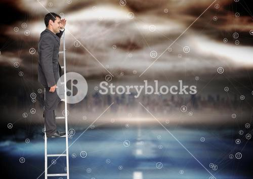 Businessman rising a ladder against a colorful background