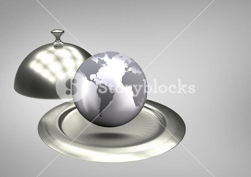 Composite of a globe on a food platter