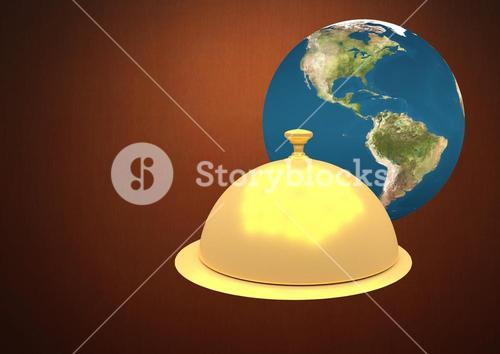 Composite of a globe with a food platter