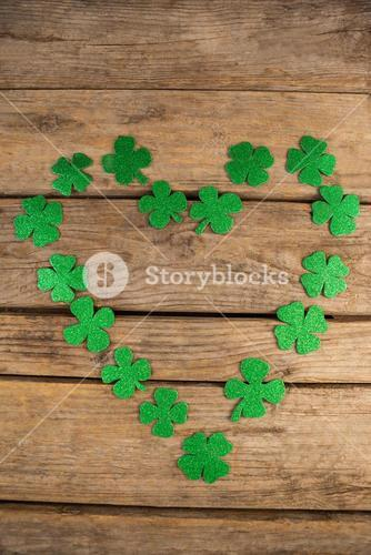 St Patricks Day shamrocks forming heart shape