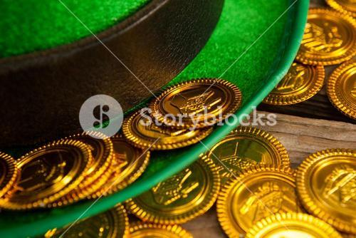 St Patricks Day leprechaun hat with gold chocolate coins
