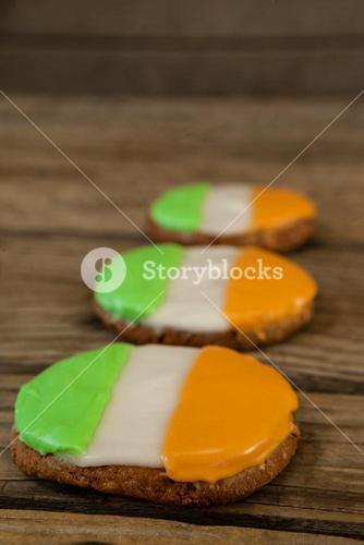 St. Patricks Day three cookies with irish flag toppings