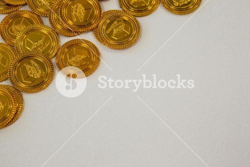 St. Patricks Day close-up of chocolate gold coins