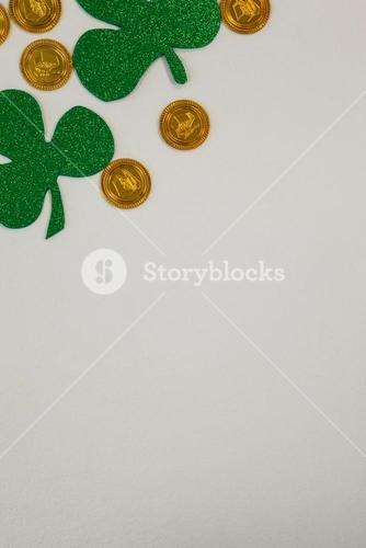 St Patricks Day shamrocks and gold chocolate coins