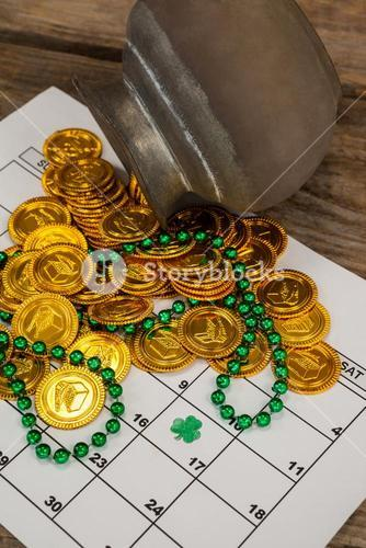 St. Patricks Day chocolate gold coins and beads kept on calendar