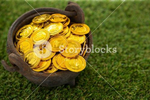 St. Patricks Day pot filled with chocolate gold coins