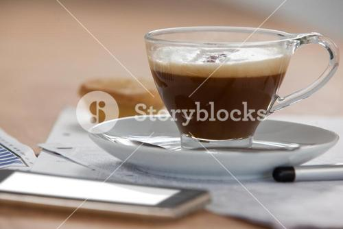 Cup of coffee and saucer