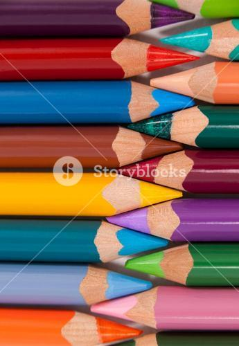 Colored pencils arranged in interlock pattern
