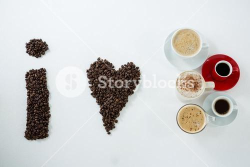 Coffee beans forming shape I love coffee