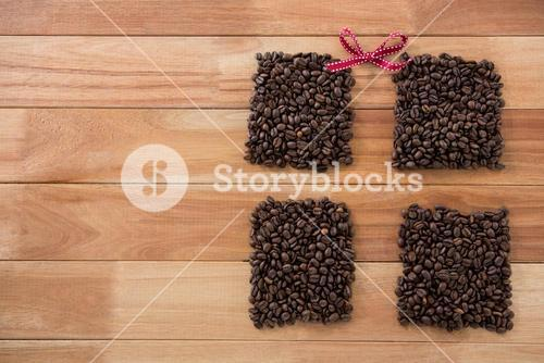 Roasted coffee beans forming shape