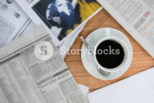 Black coffee served on table