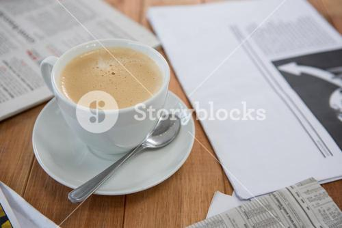 Coffee served on table