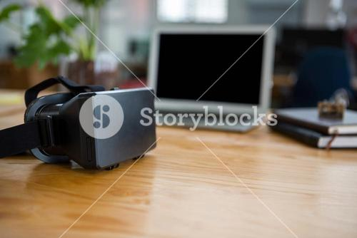 Virtual reality headset on table