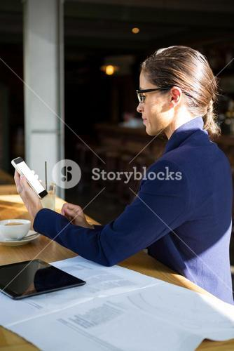 Business executive using mobile phone in café