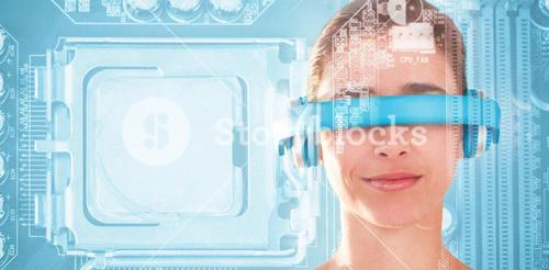 Composite image of beautiful young woman using virtual video glasses