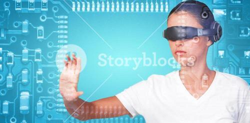 Composite image of beautiful woman gesturing while using virtual video glasses