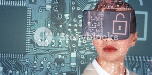 Composite image of close up of businesswoman wearing virtual video glasses