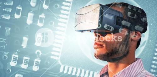 Composite image of close up of businessman holding virtual glasses