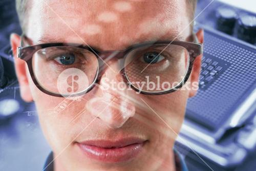 Composite image of close up portrait of man wearing eyesglasses