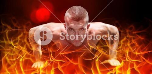 Composite image of confident shirtless athlete doing push ups