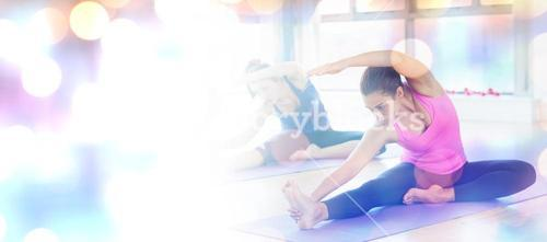 Composite image of fit women doing stretching pilate exercises