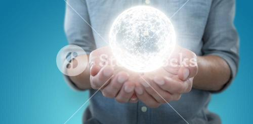 Composite image of man holding invisible object