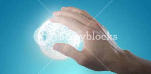 Composite image of hand of man touching invisible screen