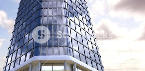 Composite image of low angle view of modern building