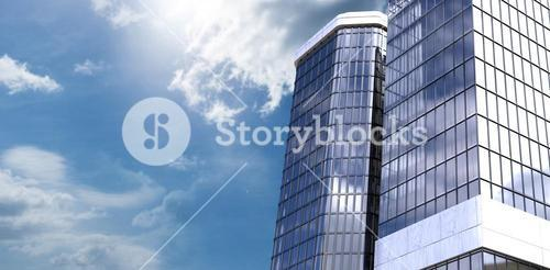 Composite image of low angle view of corporate building