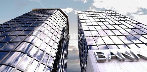 Composite image of low angle view of modern bank buildings