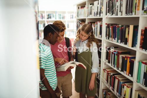 School kids reading books in library at school