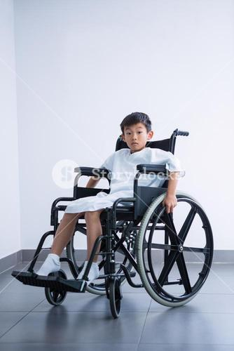 Disabled boy patient on wheelchair