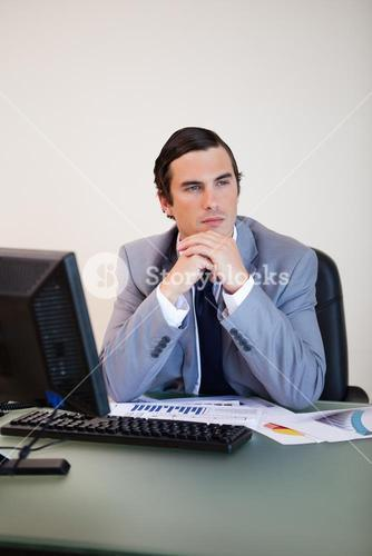 Businessman in thoughts