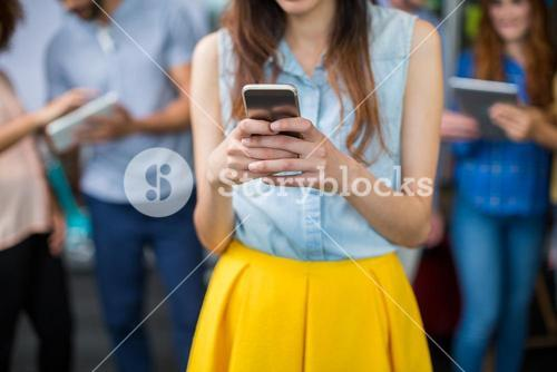 Mid section of female executive using mobile phone