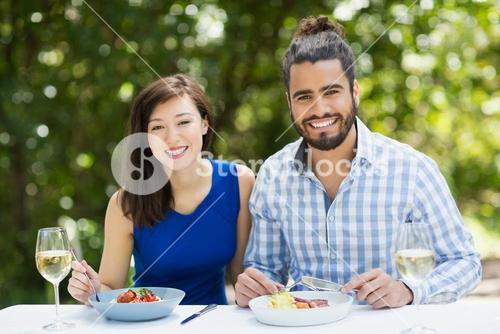 Couple enjoying together in a restaurant