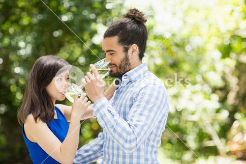 Couple having wine in a restaurant