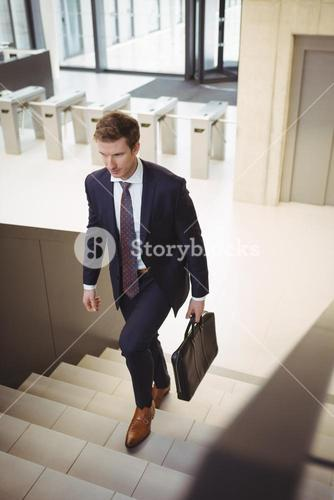 Businessman with briefcase climbing stairs